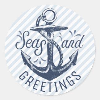 "Nautical ""SEAson's Greetings,"" Navy Blue Stripes Classic Round Sticker"