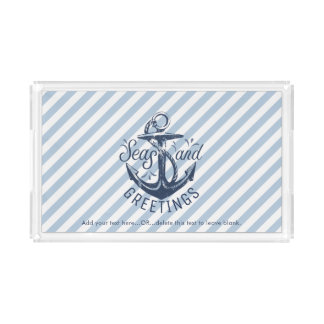 "Nautical ""SEAson's Greetings"" Navy Striped Acrylic Tray"