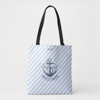 Nautical SEAson's Greetings, Navy Stripes Tote Bag