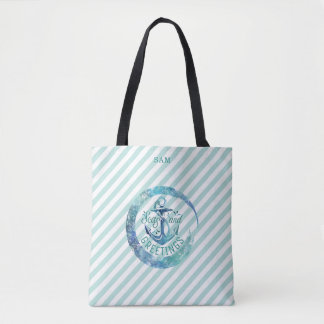 Nautical SEAson's Greetings, Stripes & Watercolor Tote Bag