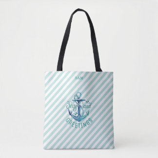 Nautical SEAson's Greetings, Tropical Teal Stripes Tote Bag
