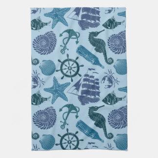 Nautical Shades Of Blue Pattern Tea Towel