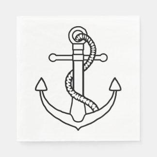 Nautical Ship Anchor Black And White Wedding Party Paper Napkin