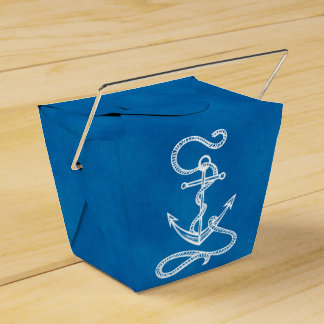 Nautical Ship Anchor Blue Beach Wedding Party Favour Box