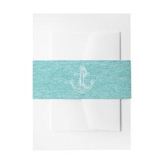 Nautical Ship Anchor Blue Turquoise Wedding Invitation Belly Band