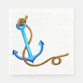 Nautical Ship Anchor Blue Turquoise Wedding Party Disposable Serviette