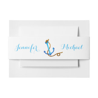 Nautical Ship Anchor Blue Turquoise Wedding Party Invitation Belly Band