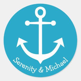 Nautical Ship Anchor Blue Turquoise Wedding Round Sticker