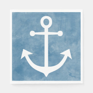 Nautical Ship Anchor Blue Watercolor Wedding Disposable Serviette