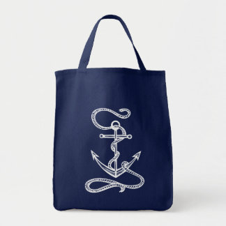 Nautical Ship Anchor Blue Watercolor Wedding Tote Bag