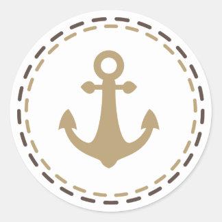 Nautical Ship Anchor Brown and Tan - Sailor, Ocean Round Sticker