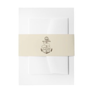 Nautical Ship Anchor Brown Tan Wedding Love Invitation Belly Band