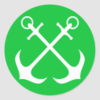 Nautical Ship Anchor Green And White Sailor Boat Round Sticker