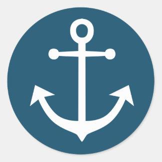 Nautical Ship Anchor Navy Blue And White Round Sticker