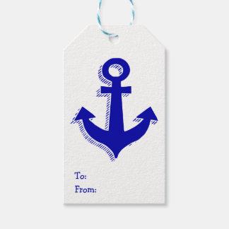 Nautical Ship Anchor Navy Blue & White Gift Tags