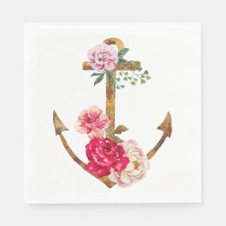 Nautical Ship Anchor Pink Flowers Vintage Party Disposable Serviette