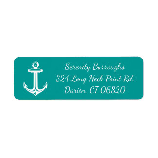 Nautical Ship Anchor Teal Turquoise Beach Ocean Return Address Label