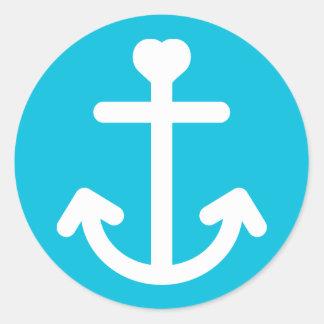 Nautical Ship Anchor Turquoise Blue Ocean Sailor Classic Round Sticker