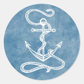 Nautical Ship Anchor Watercolor Blue Ocean Sailor Classic Round Sticker