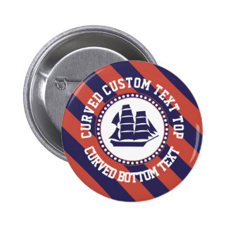 Nautical ship curved text 6 cm round badge