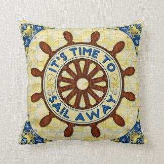 Nautical Ship Helm Wood Wheel Old Map Sail Away Throw Pillow