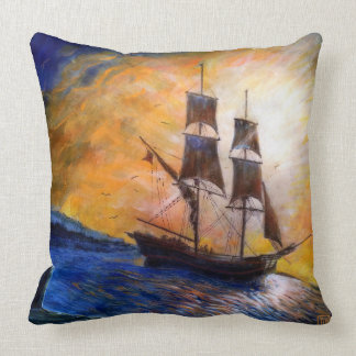 Nautical Ship Ocean Seascape Art Throw Pillow