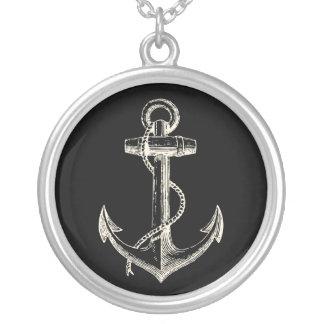 Nautical ship pendant necklace anchor black cream