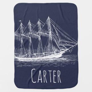 Nautical Ship Schooner & Navy Blue Baby's Name Baby Blanket