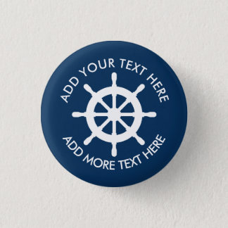 Nautical ship wheel buttons with custom text