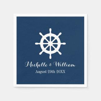 Nautical ship wheel custom wedding party napkins paper napkins