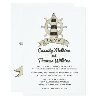 Nautical Ship Wheel Lighthouse Tan Wedding Card