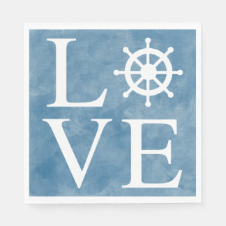 Nautical Ship Wheel Love Watercolor Blue - Sailor Paper Napkins