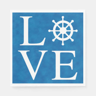 Nautical Ship Wheel Love Watercolor Blue Sailor Paper Napkins