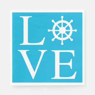 Nautical Ship Wheel Love Watercolor Blue Turquoise Disposable Serviette