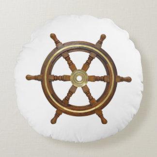 Nautical Ship Wheel Round Cushion