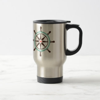 Nautical Ship Wheel with Pink Heart Travel Mug