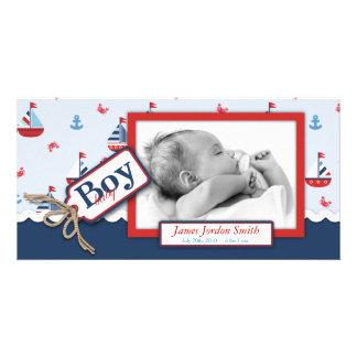 Nautical Ships Ahoy! Birth Announcement Customized Photo Card