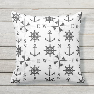 Nautical Ships Helm Compass Anchors Black & White Outdoor Cushion