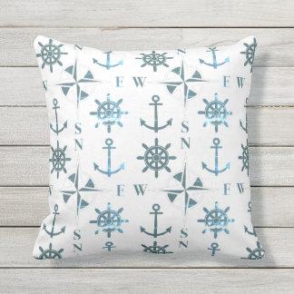 Nautical Ships Helm Compass Anchors Patina Cushion