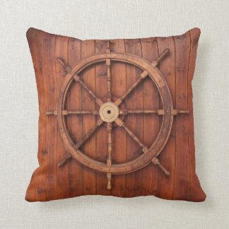 Nautical Ships Helm Wheel on Wood Throw Pillow