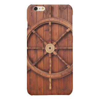 Nautical Ships Helm Wheel on Wooden Wall