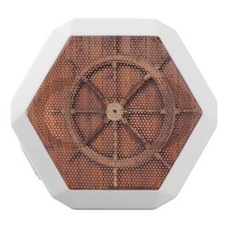 Nautical Ships Helm Wheel on Wooden Wall