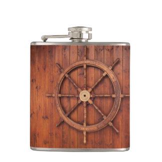 Nautical Ships Helm Wheel on Wooden Wall Flask