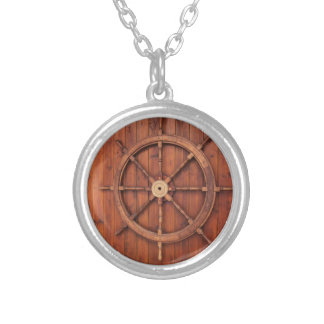 Nautical Ships Helm Wheel on Wooden Wall Silver Plated Necklace