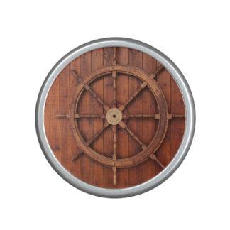 Nautical Ships Helm Wheel on Wooden Wall Speaker