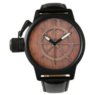 Nautical Ships Helm Wheel on Wooden Wall Watches