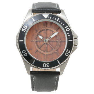 Nautical Ships Helm Wheel on Wooden Wall Wristwatch