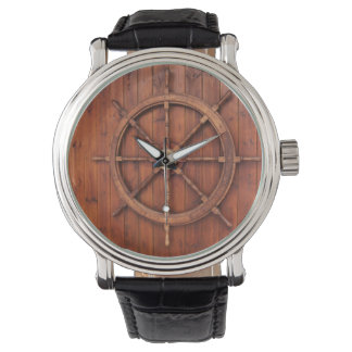 Nautical Ships Helm Wheel on Wooden Wall Wristwatches