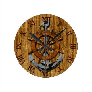 Nautical Ships Wheel And Anchor Round Wallclock