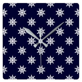 Nautical ship's wheel pattern square wall clock